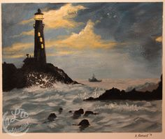 Lighthouse Painting on Watercolor Paper