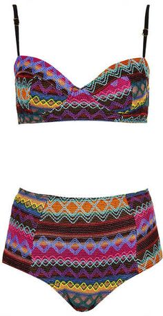 Holiday Wardrobe: TOPSHOP Multicolor Multicolour Embroidered Aztec Bikini - Lyst