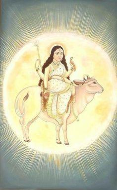 Maha-Gauri, The Great Ray of Light. श्वेते वृषेसमारूढा श्वेताम्बरधरा शुचिः। महागौरी शुभं दद्यान्महादेव प्रमोददा॥ Shwete Vrishesamarudha Shwetambaradhara Shuchih। Mahagauri Shubham Dadyanmahadeva...