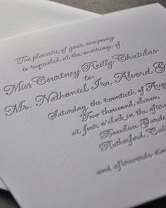 "See the ""Letterpressed Calligraphy"" in our  gallery"