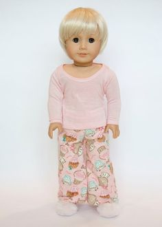 American Girl doll pajamas with slippers  pink by EverydayDollwear, $22.00