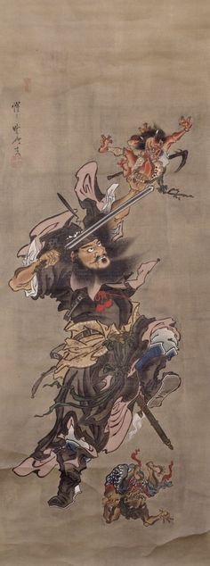 Claimed to be by Kawanabe Kyōsai. Still badass.