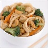 Tofu and Cashew Chow Mein//can use veggie oyster sauce or leave out.