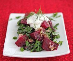 Warm Braised Beet Salad with Beet Greens and Yogurt Sauce