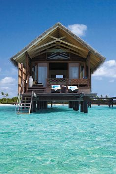 Water Villa at Shangri La Villingili Resort, Maldives. The resort also offers tree-house villas. Vacation Destinations, Dream Vacations, Vacation Spots, Oh The Places You'll Go, Places To Travel, Resorts, Beautiful Homes, Beautiful Places, Amazing Places