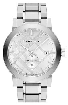 Burberry 'New Classic' Check Stamped Bracelet Watch, 42mm available at #Nordstrom