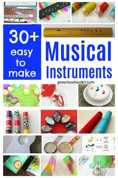 Homemade instruments promote music and movement with early learners. These simple crafts are easy to make with recyclables and everyday craft supplies. Choose from over thirty options to enjoy music activities with kids of all ages. Instrument Craft, Homemade Musical Instruments, Music Activities, Activities For Kids, Crafts For Kids, Toddler Crafts, How To Make Maracas, Maracas Craft, Homemade Drum