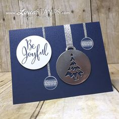LovenStamps: Merriest Wishes and the Merry Tags Framelits Dies - Night of Navy ornament card for Christmas