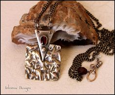 Rustic Mixed Metal Pendant Necklace with Gem Cut by CathyHeery, $48.00