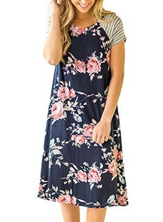 9d35d4c4d884 LOSRLY Women Floral Striped Short Sleeve Crewneck T-Shirt Dress Tunic Midi  Dress-Black
