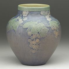 SADIE IRVINE NEWCOMB COLLEGE Transitional vase with grape clusters, New Orleans, 1917