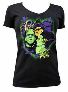 Por Vida by Charlie Medina Women's Black Shirt Monster Bride of Frankenstein Tattoo Clothing, Tattoo T Shirts, Pin On, Bride Of Frankenstein, Lowbrow Art, Gothic Outfits, Alternative Fashion, V Neck T Shirt, Tee Shirt