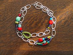 Colorful Necklace Chain Link with Assorted Semi by romyandclare