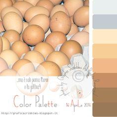 Color Palette of 14 aprile 2014- E' nato prima l'uovo o la gallina? http://graficscribbles.blogspot.it/2014/04/palette-colori-color-palette-esadecimali-hex.html