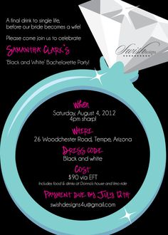 Diamond Ring Bachelorette Invitations  Bachelorette Weekend