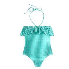 J.Crew - Gingham ruffle bandeau one-piece swimsuit
