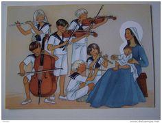 CPM. Illustration Joëlle d Abbadie  Editions Médiaspaul Paris groupe de musiciens violons femme marie enfant