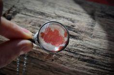 salmon fluff necklace glass necklace salmon by ZokaKurylov on Etsy