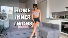 Its time to get our sweat on and get lean legs at home! Try this fun workout in your living room or even in your bedroom! Feel the burn and share it with a friend! Thigh Workouts At Home, Leg Workout At Home, Gym Workout For Beginners, Fitness Workout For Women, Butt Workout, Workout Videos, Inner Leg Workouts, Workout Exercises, Big Thigh Workout