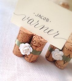 White & Sage Wedding Place Card Holders by KarasVineyardWedding