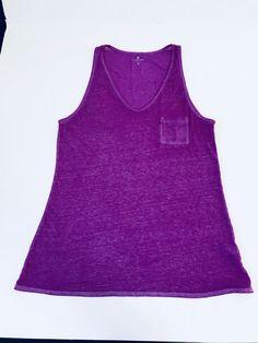 61184bafb14eea ATHLETA Womens Sz M Purple Tank Knit Top Sleeveless Striped Cotton Blend