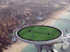 Wonder what happens when they loose a ball. Tennis Court at Burj Al Arab hotel in Dubai