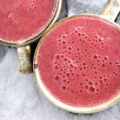 Raw vegan smoothie made with frozen raspberries & fresh bananas.