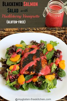 Blackened Salmon Salad with Huckleberry Vinaigrette (Gluten-free)  Healthy, easy to make and on the table in 45 minutes! Can use store-bought dressing to make it easier too. #WildAlaskaSeafood #CleverGirls