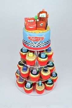 Disney cars cupcake tower - by SuzieB @ CakesDecor.com - cake decorating website