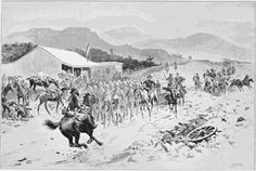 British Prisoners on their way to Pretoria: The First Halt. A Drawing by S.Begg. 2nd Boer War