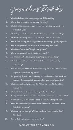 20 Journaling Prompts for Spiritual Growth – Well-Watered Women - bible study - Trending Gratitude Journal Prompts, Devotional Journal, Bible Study Journal, Daily Devotional, Gratitude Quotes, Devotional Ideas, Journal Questions, Bible Study Questions, Vie Motivation