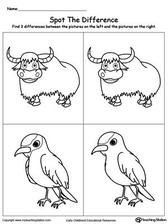 Spot The Difference In The Animals: Yak And Xenops Worksheets Spot The Difference Printable, Spot The Difference Kids, Drawing Activities, Animal Activities, Free Printable Worksheets, Kindergarten Worksheets, Kindergarten Drawing, English Worksheets For Kids, Wedding Spot