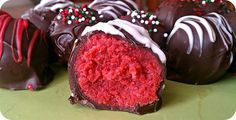 Red Velvet Cake Balls for Christmas!