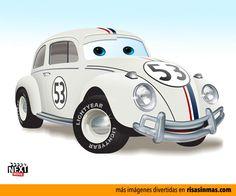 Herbie: 7 Famous Movie Cars Redone As Pixar Characters Pixar Characters, Pixar Movies, Disney Pixar Cars, Volkswagen, Famous Movie Cars, Delorean Time Machine, Truck Art, Car Humor, Vw Beetles