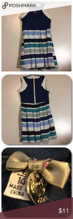 👗Dress👗 Poof! pleated dress. Girl size large 14. Neckline has 5 decorative faux gemstone stars. Poof! Dresses