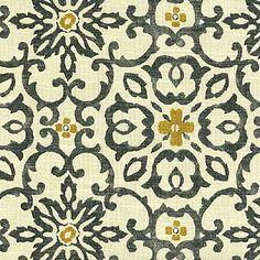 HGTV Home Decor Print Fabric Souvenir Scroll Azure For The Living Room  Drapes.