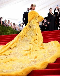Rihanna in handmade Haute Couture by Guo Pei that took 2 years to make - 2015 Met Gala