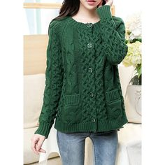 Plus Size Long Sleeve Round Collar Pockets Design Cable-Knit Cardigan For Women
