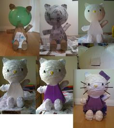how to make a hello kitty pinata. I use cotton wool soaked in PVA to mold the thumbs, eyes, nose and feet and cover with Papier-mâché, I used four layers. After painting add white tissue paper on head, arms and feet. Make a dress from Crepe paper adding ruffles made using a needle and cotton. Add bow and whiskers.