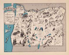 1931 Rare OREGON Map FUN 1930s Original Pictorial Map of Oregon BLU 2401