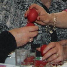 Christos anesti ! Christ Has Risen !  Traditional Cracking of the red eggs,Symbolizing New Life