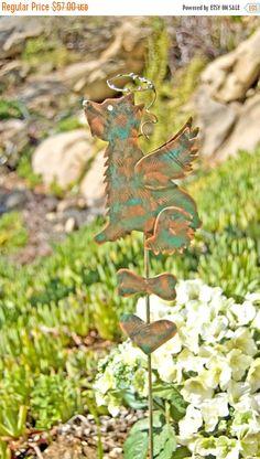 Schnauzer Terrier Pet Memorial Stake / Copper Art / Yard Art / Metal Garden Art / Memorial Dog / Angel Decoration / Animal Sculpture / Spike