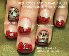 border outline sugarskulls with roses nail art! http://www.youtube.com/watch?v=qTZ5qN4_jwc
