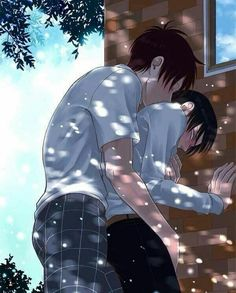Eren: Levi, let me make this better... *Eren whispers, holding him close. Levi sucks his head, trying to hide his red face*