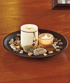 Candle Garden Inspirational Live Laugh Love Rock Home Bathroom Bedroom Decor… Garden Candles, Diy Candles, Pillar Candles, Candle Jars, Luxury Candles, Table Centerpieces, Table Decorations, Stone Pillars, Garden Table