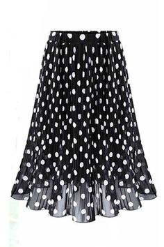 Vintage Black White Polka Dot Skirt Summer Elastic Waist Jupe Tulle Femme Big Size Faldas Midi Chiffon Ladies Skirts Color Black Size L Midi Skirt Casual, Midi Flare Skirt, Casual Skirts, Midi Skirts, Chiffon Skirt, Pleated Skirt, High Waisted Skirt, White Chiffon, Skater Skirt