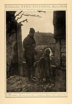 """1916, WW1.""""Two French youngsters, whose father has been killed in the trenches, are telling one of father's comrades all about it."""" Period Paper TIN2A6B26C16"""