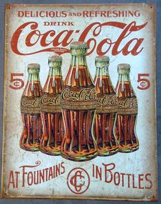COCA COLA metal sign black bottle in hand vintage style coke ad soda pop