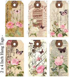 Instant Download - Hang Tags  - Shabby Meets Vintage  -  Printable Digital Collage Sheet - Download