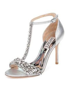 """Badgley Mischka metallic suede sandals with crystal accents. T-strap d'Orsay vamp. """"Veil II"""" is imported. Best Bridal Shoes, Bridal Wedding Shoes, Tiffany Blue Heels, Shoe Boots, Shoes Heels, Prom Shoes, Bridesmaid Shoes, Bride Shoes, Jeweled Shoes"""